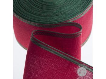Лента-канва, красная с зеленым кантом