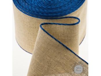 Лента-канва, натуральный лен с синим кантом