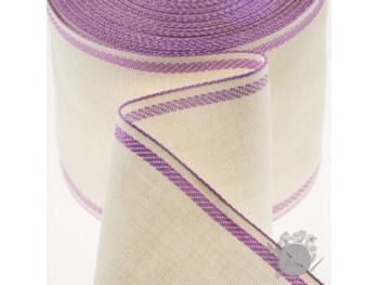 Лента-канва, белая с лиловым кантом